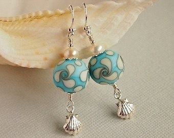 Organic Lampwork Bead Earrings, Turquoise, Ivory, Etched Lampwork, Sea Shell, Sterling Silver - SONG of the SEA