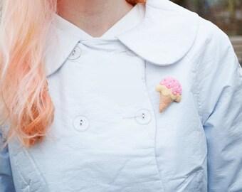 Ice Cream Brooch - Pink Ice Cream - Cute Brooch - Fairy Kei - Ice Cream Pin - Christmas Gift