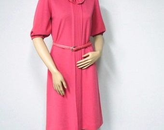 1960's Bow Dress Vintage Jersey Knit Pink Dress Mod Pleat Hot Pink Day Dress LF Petites Size 6 Size Small