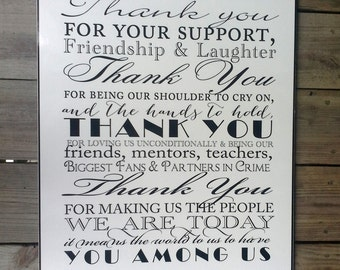Thank You Poster / Wedding Thank You Sign / Mixed Font Design / Black and White / 18 x 24 PDF Printable