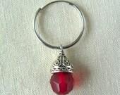 Men's Single Pirate's Red Glass Jewel Earring - Endless Hoop