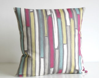 Stripe Pillow Cover, Decorative Pillow Cover, 20x20 Pillow Cover, cushion cover, pillow sham, accent pillow, rose - Random Stripes Rose