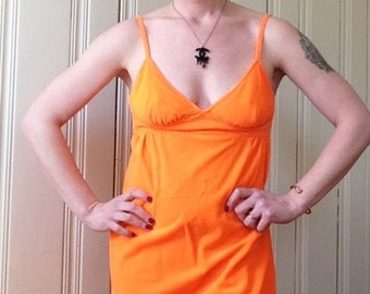 Vintage Babydoll Mini Dress - Hot Orange Hunting Season Dress
