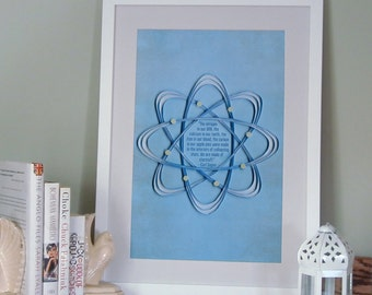 """Carl Sagan quote """"We are made of starstuff"""" Inspirational poster, quilled atom border, Paper art print, Geek poster"""