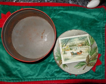 Christmas Tin-1950-1960s Vintage cookie round box-snow-horses-sleigh ride-church steeple-rustic old candy tin-cookie container-