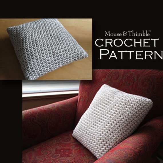 Beginner Crochet Pillow Patterns : Super Bulky Chunky Pillow Beginner Crochet by MouseAndThimble