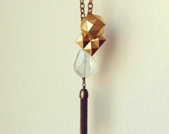 Crystal Quartz Tassel Necklace, Rock Crystal Nugget, Raw Brass Stud Pendant, Brass Tassel, Brass Cable Chain