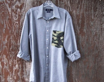 UPCYCLED GREY SHIRT camo pocket long sleeve button up oxford grunge recycled unisex