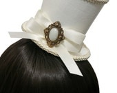 White and Ivory Victorian Steampunk Wedding Faux Leather Top Hat