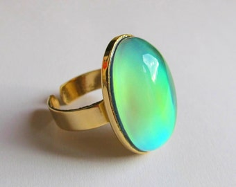 Mood Ring 24k Gold Plated - 25x18 Large Deluxe Mood Stone color changing