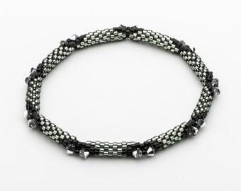 Silver bangle bracelet, Silver statement bracelet, Swarovski Crystal bracelet, Black bangle bracelet, Silver beaded bracelet