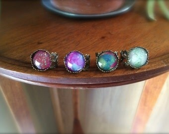 Boho/Princess/Gypsy Ring Antique Brass Sparkle Ring Adjustable Ring (Custom Colors Available)
