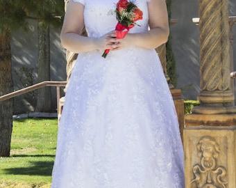 Rachel Modest Wedding Dress - Custom Made Wedding Dress - Wedding Dress with Sleeves - Lace Wedding Dress - Modest Bride - LDS Wedding Dress