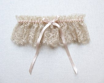 Antiquity lace silk garter rose gold French lace garter nude blush silk garter