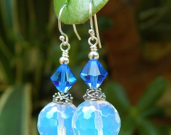 Blue Opal Earrings - Faceted Opalite Beads, Vintage Crystals, Bali Style Silver Accents & Argentium Ear Wires / Proceeds Aid Food Bank