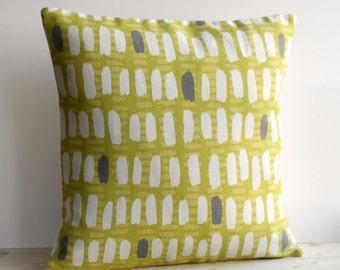 Geometric Cushion Cover, 16x16, 18x18, Modern Pillow Cover, Pillow Sham, Linen Cotton Pillowcase - Brushstrokes Fresh