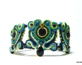 Soutache Bracelet, Black, Yellow and Jade Cuff Bracelet, OOAK