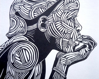 Reflection, Black And White Print, Black And White Art, Woodcut, Relief Printmaking, African Portrait, Printsy