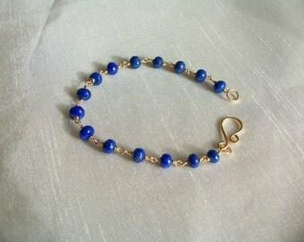 Lapis lazuli rondelle bracelet AAA rondelle 14k gold filled link 7 1/8 inches gemstone handmade MLMR  item 579