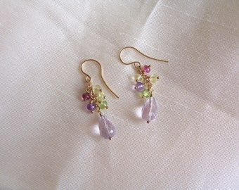 "Pink amethyst briolette earrings rondelles peridot pink tourmaline amethyst 14k gold filled  1.5"" total gemstone handmade  MLMR item 672"
