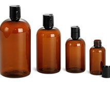 8 oz. (240 mL) Amber Plastic Bottles with Disc Caps or Pumps, Set of 4