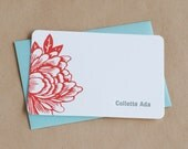 Personalized Scarlet Red Blossoming Flower Letterpress Notes : box of 25 small folded cards w custom printing and envelope color options
