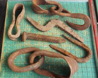 Antique Rusty stuff, Hand forged hook, blacksmith, rustic, primitives, rail spike, ranch, garden, industrial, steampunk found art,