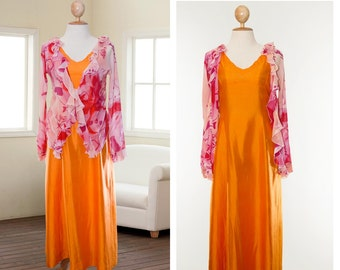 Emanuel UNGARO 90s Pure Silk Blouse Long Evening Dress Size S Saffron Pink Peach A-line Gown Orange Yellow Silk Gown Prom maxi dress