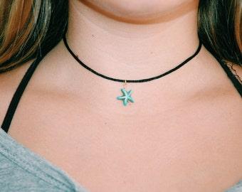 black satin choker withs starfish gem