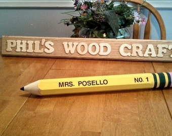 Teacher Pencil Name Plate - Custom name plate for your desk.