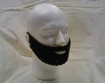 "Crocheted ""beard"" face warmer"