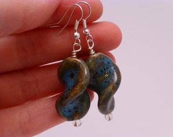 Blue Green Twist Beaded Earrings