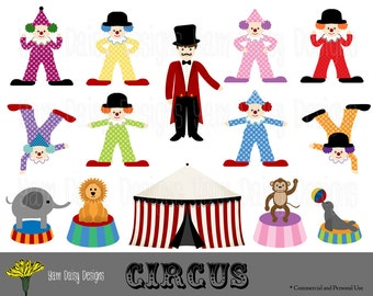 Circus Clipart, Clown, Carnival, Instant Download, Digital Scrapbooking