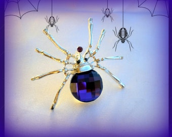 50% SALE Purple Spider Brooch..Spider Pin..Spider Jewelry..Spiderman..Gothic Brooch..Creepy Jewelry..Halloween Gift..Halloween Party Favor