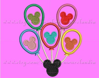 Cute mouse Balloons  Applique Design  3 sizes 4X4, 5X7 and 6X10 Instant Download