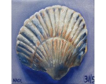 Seashell in Blue and Ochre (May 2014) original oil painting still life on box canvas