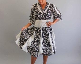 Assorti for Susan Freis dress . vintage boho flowy dress . gypsy floral dress . ruffle dress . sheer dress size small
