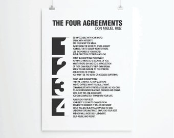 Four Agreements Quotes Classy The Four Agreements Typography Art Print Don Miguel Ruiz