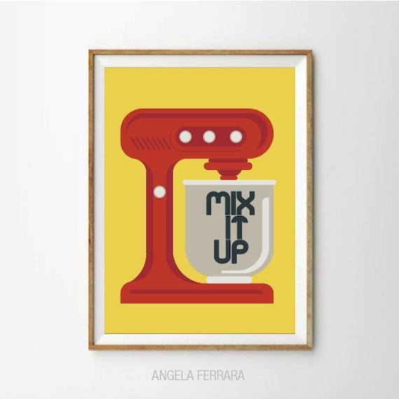 Retro Kitchen Art: Mix It Up Poster Retro Kitchen Mixer Art Print Kitchen