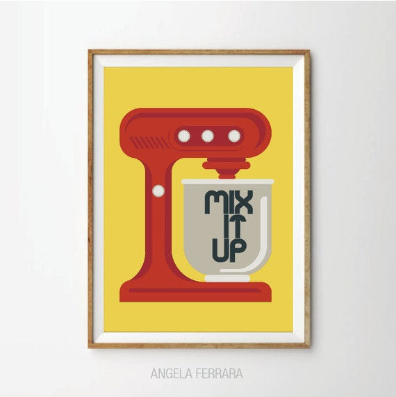 Mix It Up Poster Retro Kitchen Mixer Art Print Kitchen