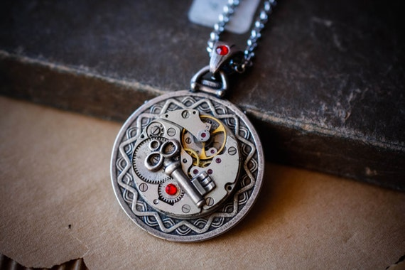 Master of the World -  Jules Verne inspired steampunk pendant with watch parts and key charm