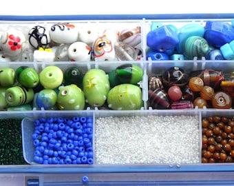 Jewelry making Bead kit  ( Lampwork  Beads ) mix different size & colors/Beading craft supplies/jewellery making/bulk lot