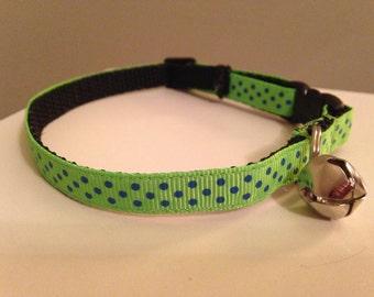 Lime Green Polka Dot Cat Collar