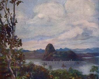 Hills Behind Rio A S Forrest 1910 Original Vintage Landscape Edwardian Watercolor Lithograph To Frame