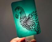 Dodo Nightlight on Aqua Blue Fused Glass Night Light - Gift for Baby Shower or Nature Lover - Extinct Bird - spring colors