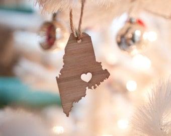i heart Maine State Ornament - Bamboo - Maine Ornament - Wooden State Ornament With Heart MA State Pendant Portland Ornament Car Mirror