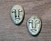 Pair of Two Medium Almond Ceramic Face Stone Cabochons in Pale Flesh