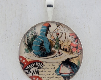 Alice and The Caterpillar Wonderland Sterling Pendant