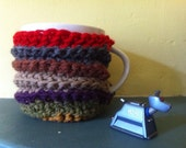 Mug cosy - set of 2 Doctor Who Fourth Doctor scarf striped tea cosies - wool crochet kitchen teaware
