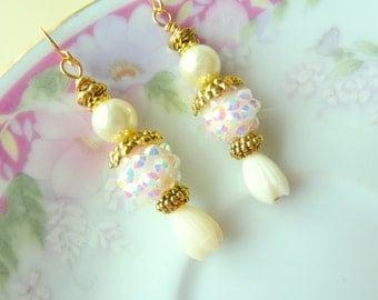 Vintage Estate Style Earrings, Romantic Ivory Vintage Flower Earrings, Pearl  Pave Berry Beads Vintage Tulip, Handmade by KreatedByKelly